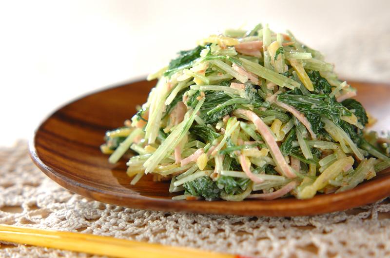 水菜とたくあんのゴママヨ和えの作り方の手順
