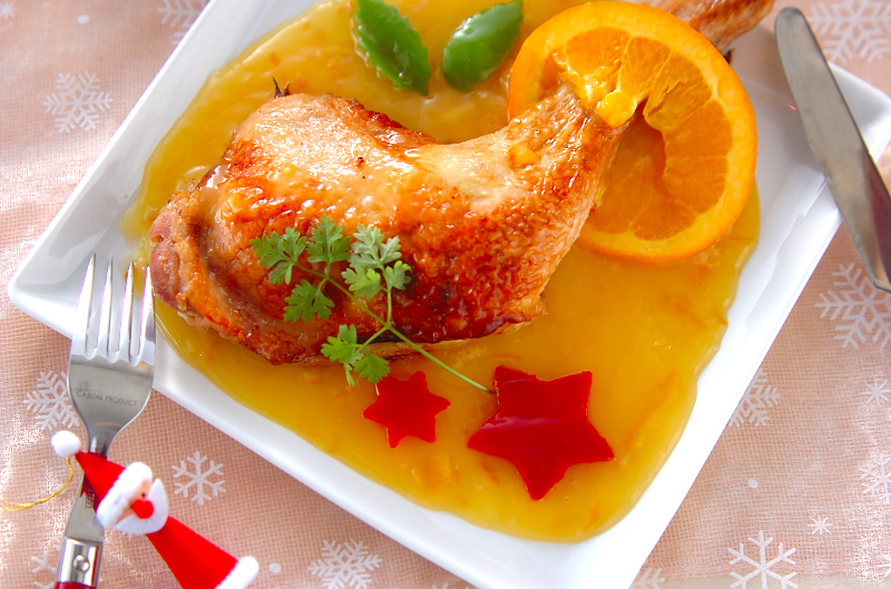 クリスマスのごちそう!ローストチキンオレンジソースがけの作り方の手順