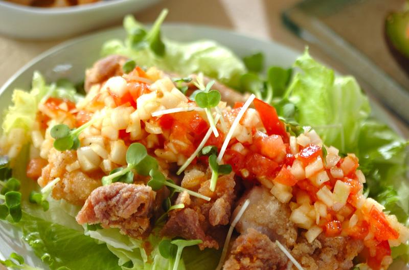 ボリュームから揚げのサラダ風の作り方の手順