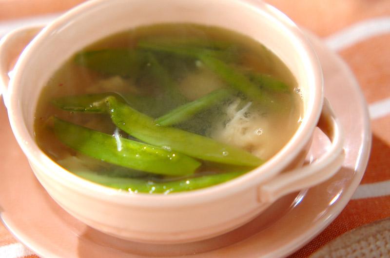 緑のお豆とホタテのスープの作り方の手順