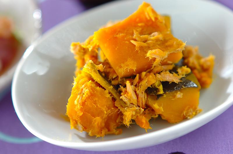 麺つゆでカボチャとツナの煮物