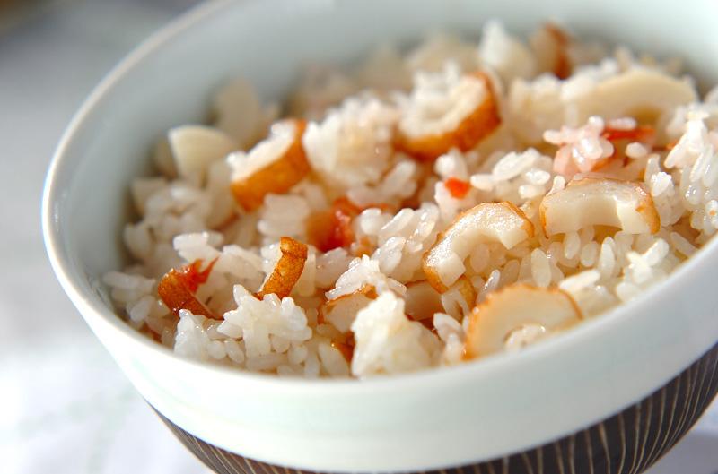 ちくわと梅の炊き込みご飯の作り方の手順