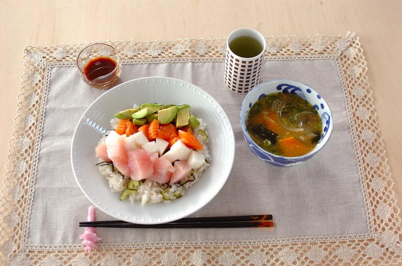 お刺身寿司夕食の作り方の手順