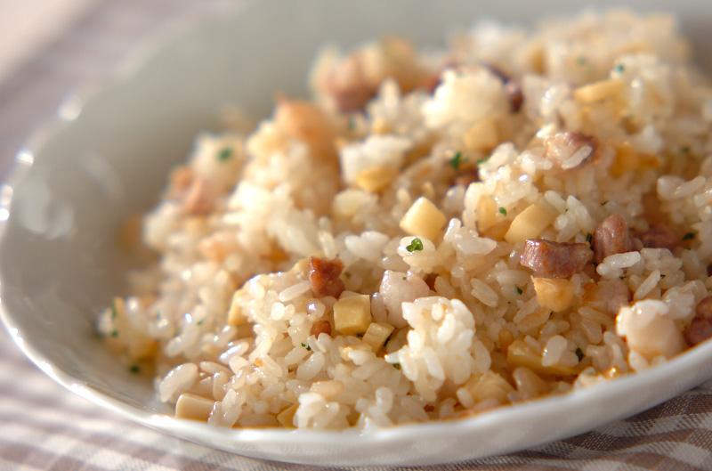 タケノコの炒めご飯の作り方の手順