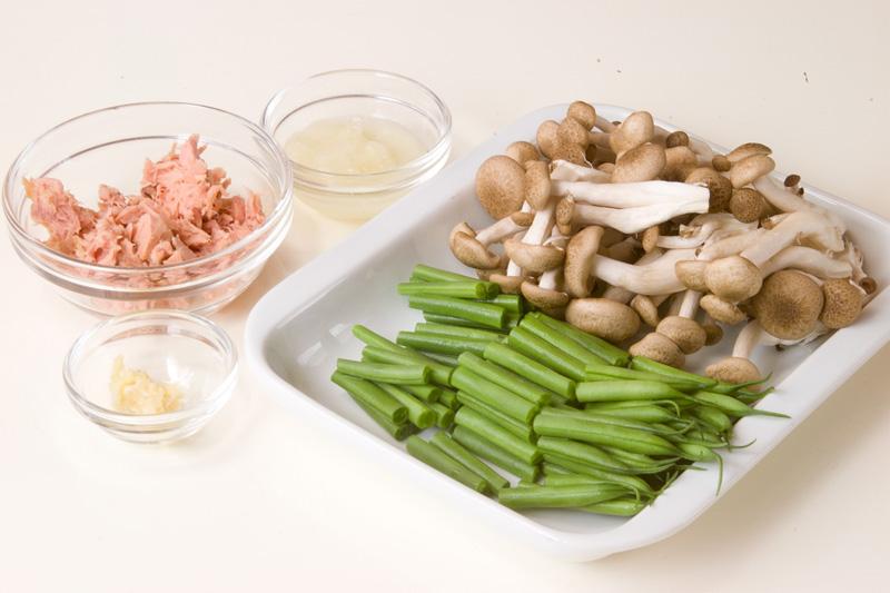 インゲンとツナのサラダの下準備1