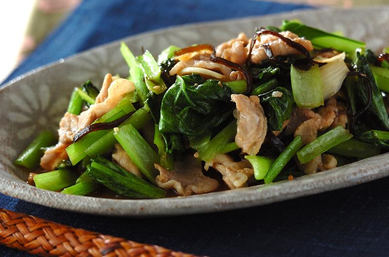 豚と小松菜の昆布炒め