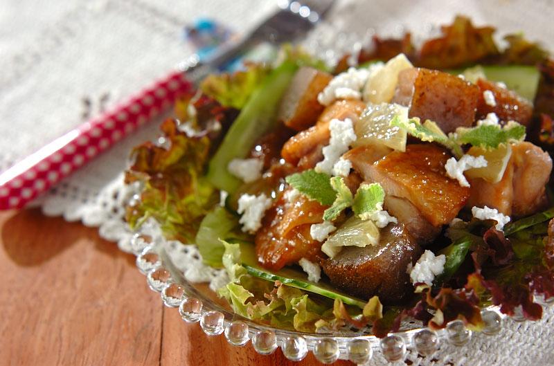 鶏照り焼きのサラダ仕立ての作り方の手順