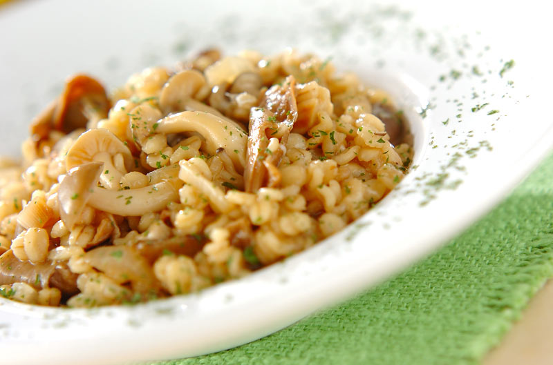 ポルチーニ茸の押し麦リゾットの作り方の手順