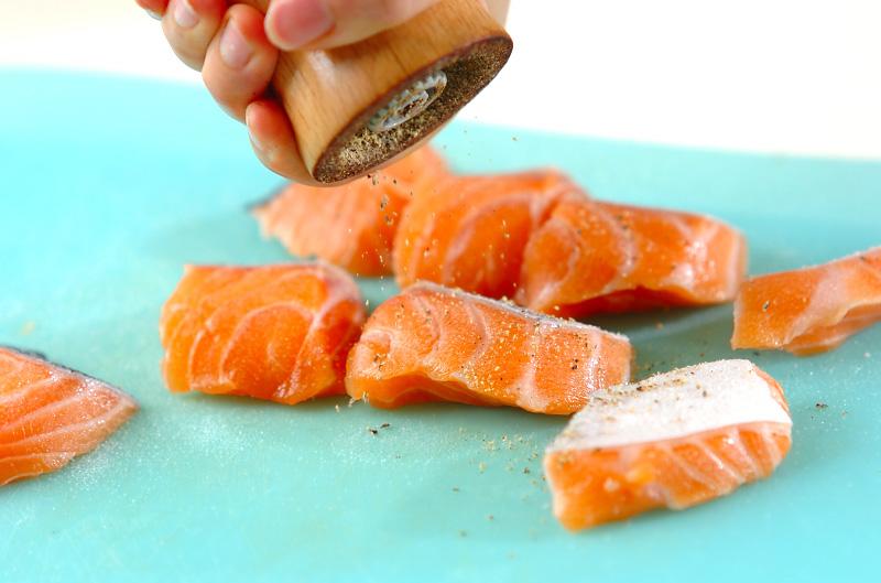 鮭とジャガイモのマヨグラタンの下準備1
