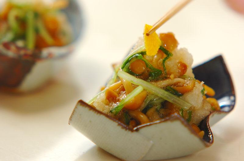 ナメコと水菜のおろし和えの作り方の手順3