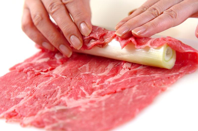 牛肉のネギ巻きの作り方の手順1