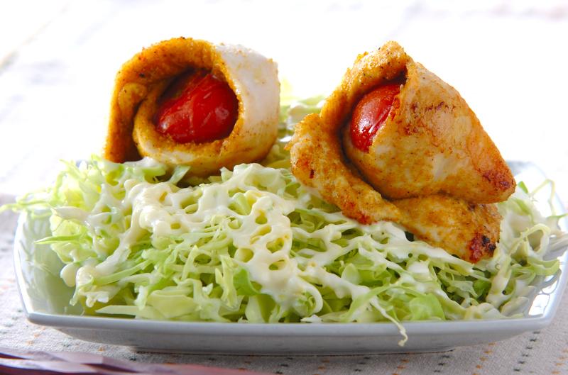 鶏ささ身のトマト巻きの作り方の手順