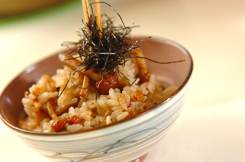 ナメコの炊き込みご飯の作り方の手順4