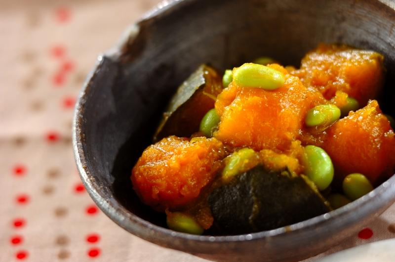 カボチャと枝豆の煮ものの作り方の手順