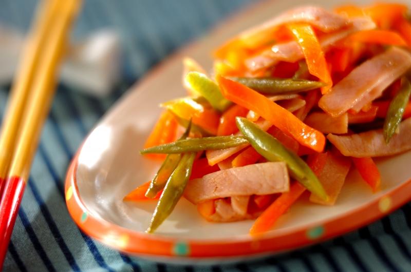 ニンジンとハムの甘酢炒めの作り方の手順