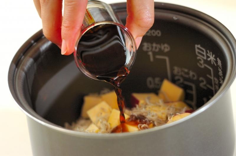 サツマイモとジャコの炊き込みご飯の作り方の手順2