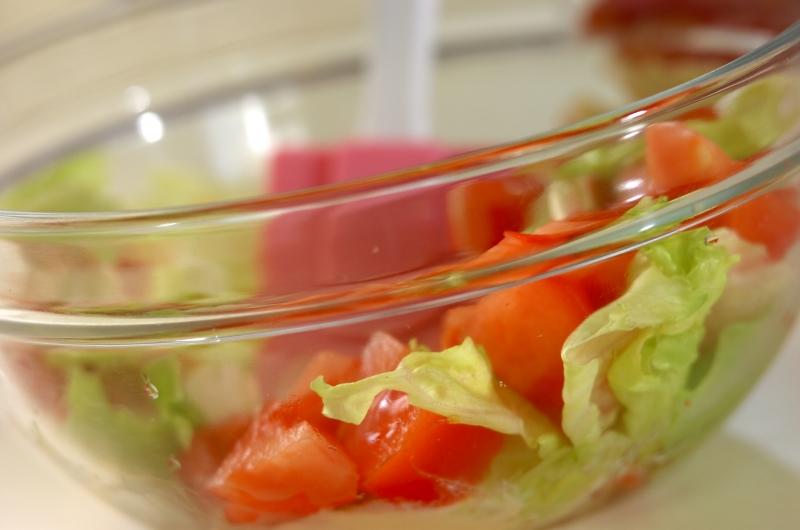 カニ缶で作る冷製パスタの作り方の手順2