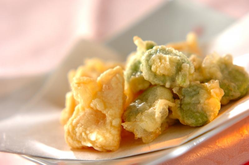 ソラ豆とタケノコの天ぷら