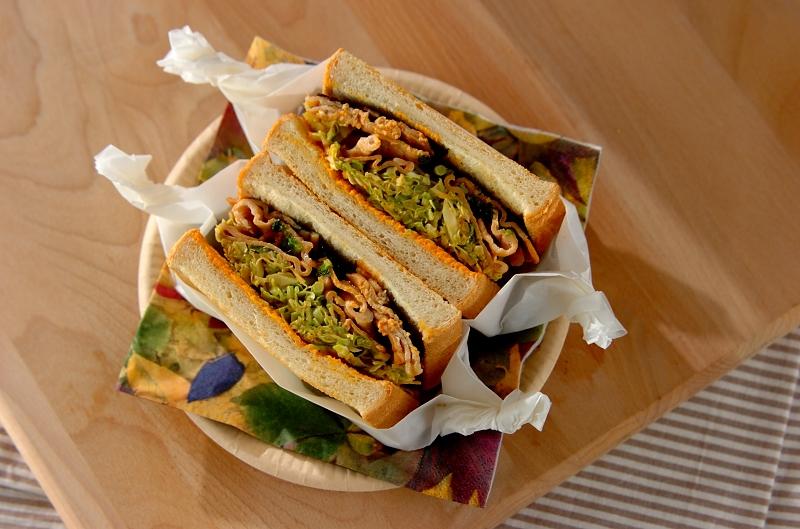 甘辛豚肉の韓国風ボリュームサンドイッチの作り方の手順