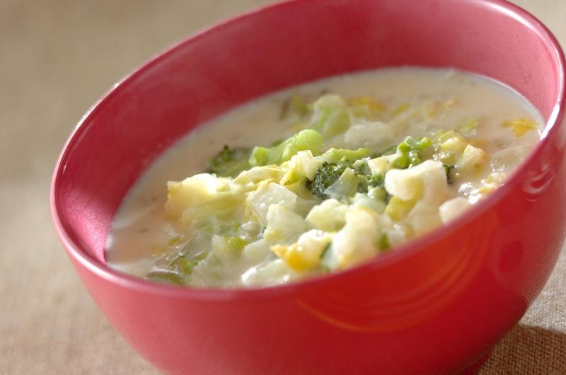 白菜とブロッコリーのクリームスープの作り方の手順