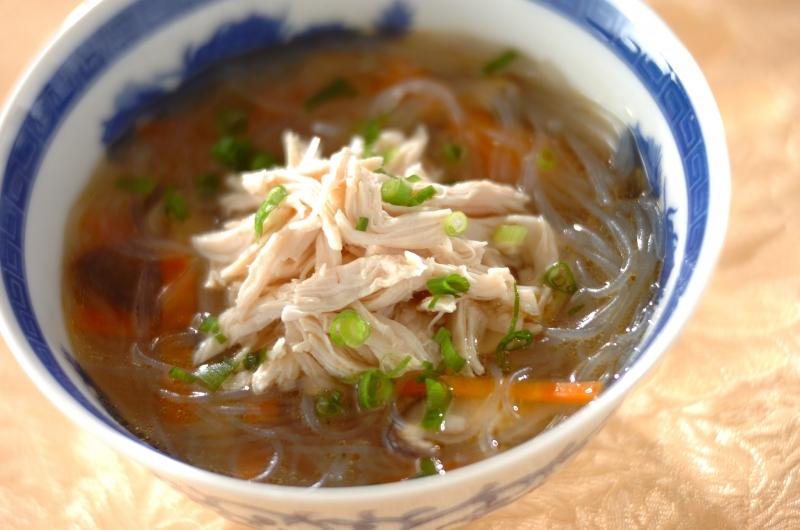 ささ身と春雨の中華スープ