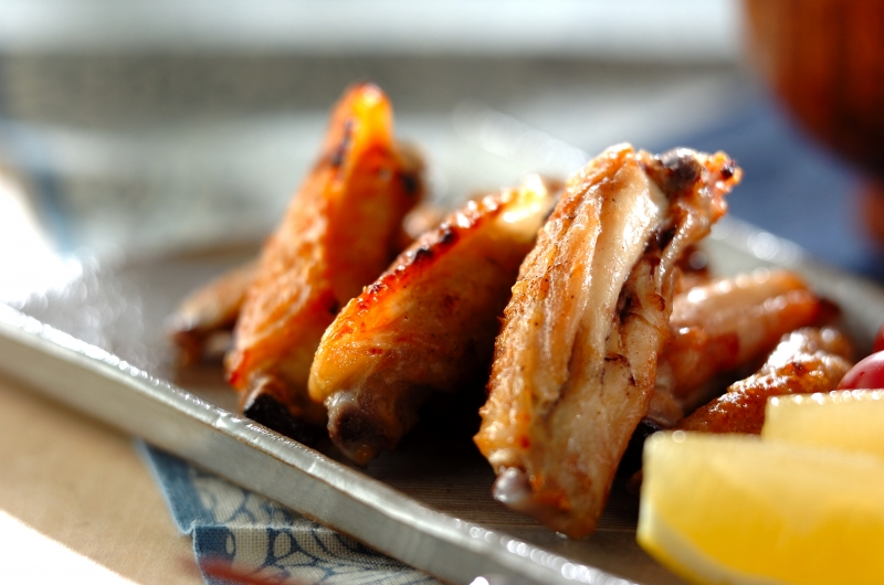 鶏手羽中のグリル塩焼き