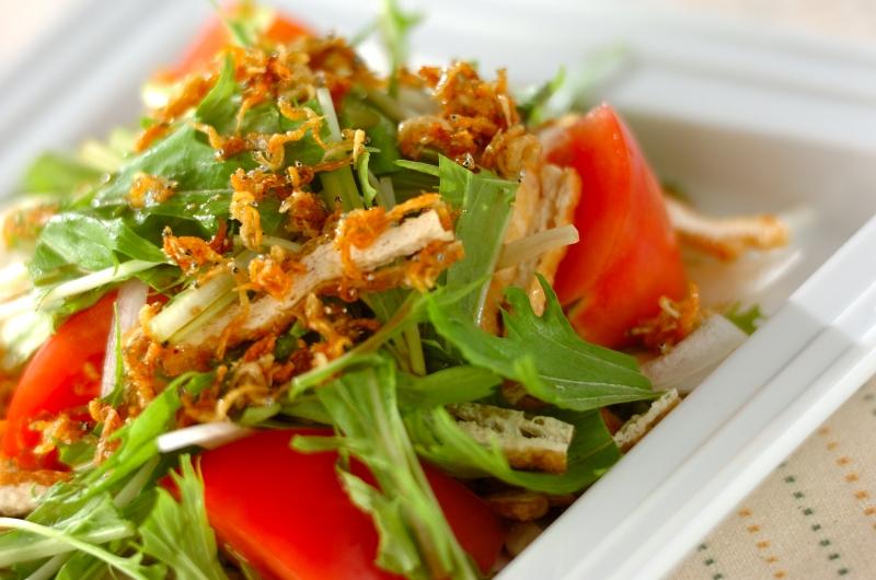 シャキシャキ水菜サラダの作り方の手順