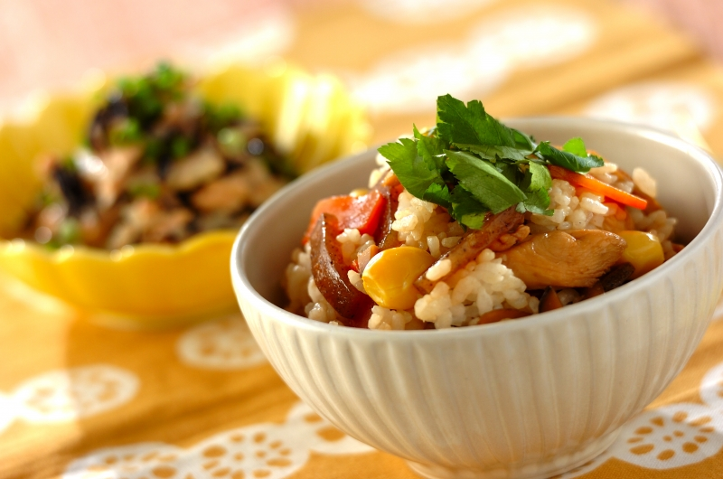 ゴボウとコンニャクの混ぜご飯の作り方の手順