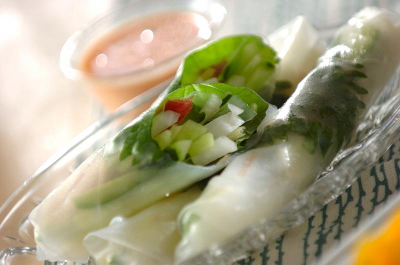 サラダ生春巻きの明太ソースの作り方の手順