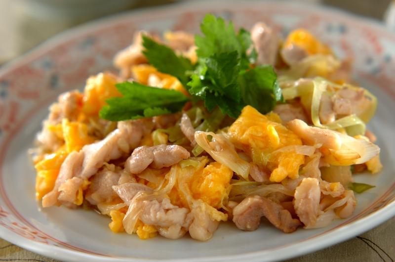 鶏とネギの炒めもの