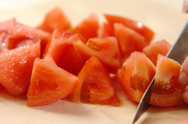 ざく切りトマトのジューシーグラタンの下準備1