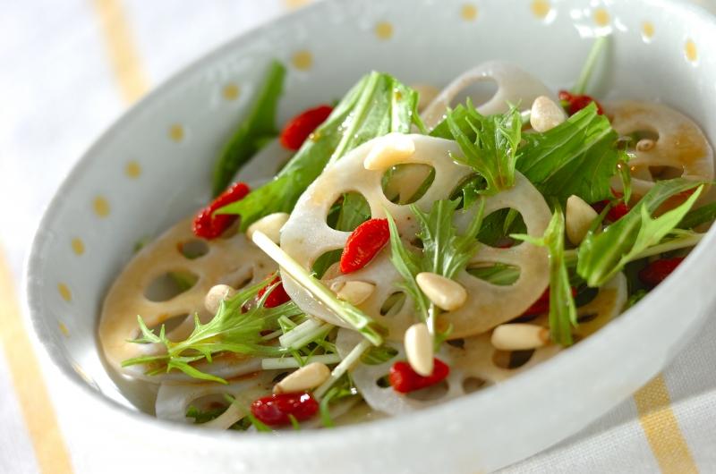 レンコンと水菜の中華サラダの作り方の手順
