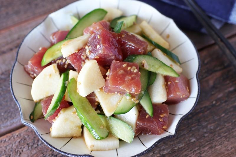 漬けまぐろと長いもきゅうりの和えサラダの作り方の手順