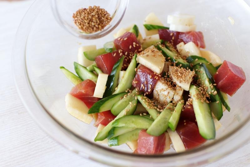 漬けまぐろと長いもきゅうりの和えサラダの作り方3