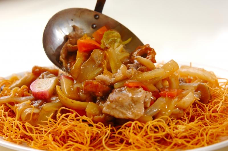 白菜たっぷり皿うどんの作り方の手順7