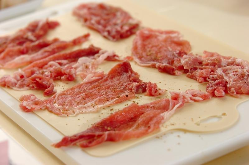 豚こまde揚げない串カツの作り方の手順1