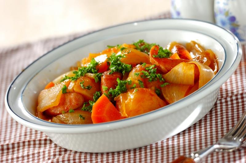 ソーセージと野菜のバーベキューソース煮