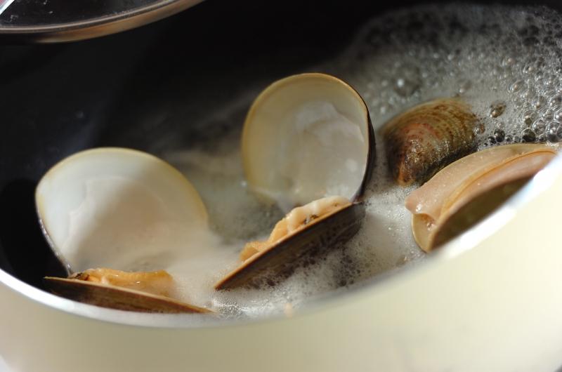 ハマグリの酒蒸しスープの作り方1