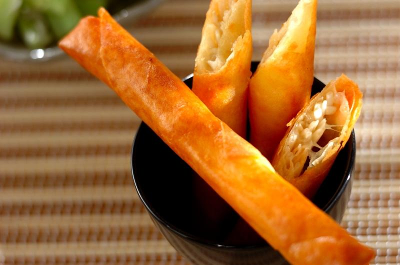 エノキとチーズの春巻きの作り方の手順