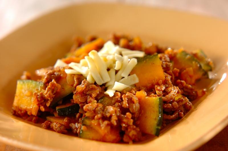カボチャとひき肉のタコライス風の作り方の手順