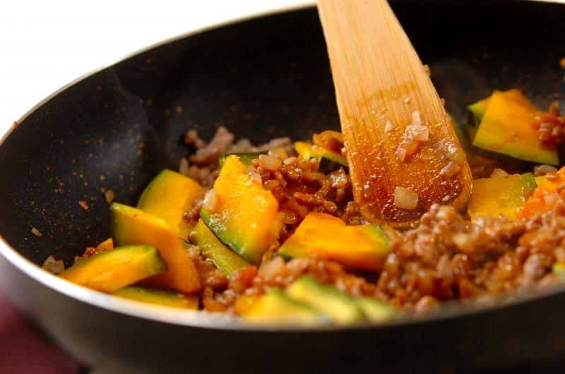 カボチャとひき肉のタコライス風の作り方の手順3