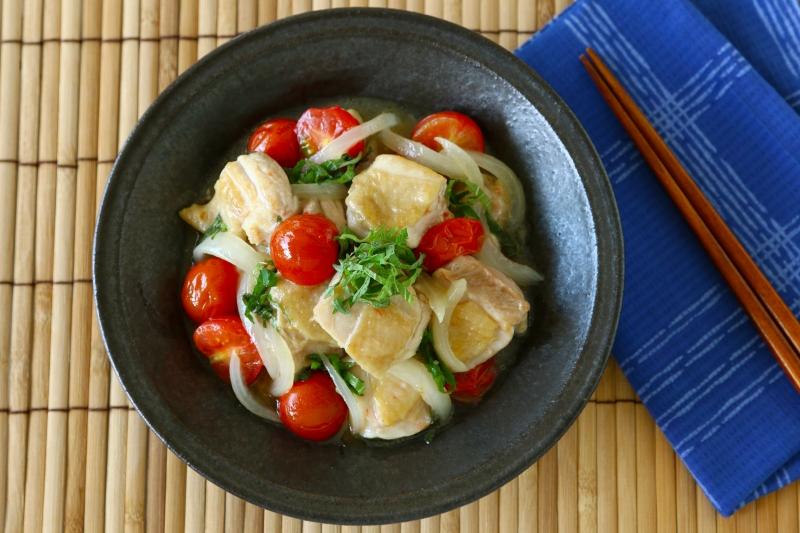 鶏肉とミニトマトの甘酢炒め