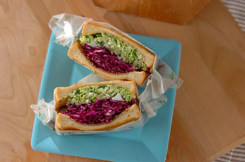 ブロッコリーのタルタルサラダ風サンドイッチ