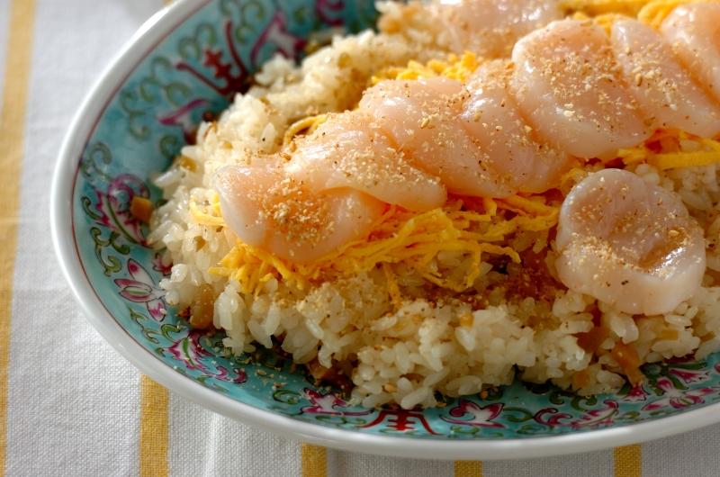 ホタテの中華風ちらし寿司の作り方の手順