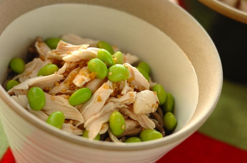 鶏ささ身と枝豆のユズコショウ和えそば