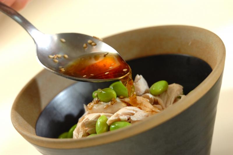 鶏ささ身と枝豆のユズコショウ和えそばの作り方の手順4