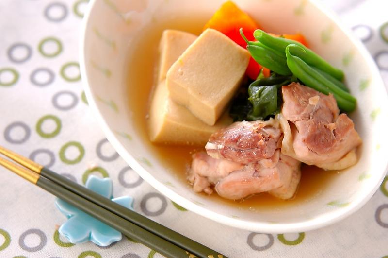高野豆腐と鶏肉の煮物の作り方の手順
