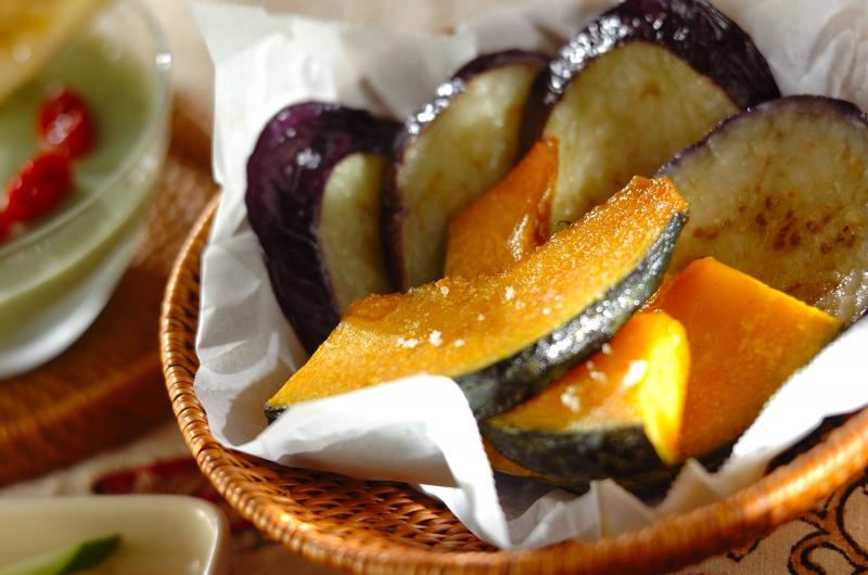 ナスとカボチャの素揚げの作り方の手順