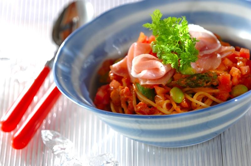 野菜たっぷりトマトクリームスパゲティー