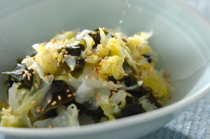 白菜とワカメの甘酢和え